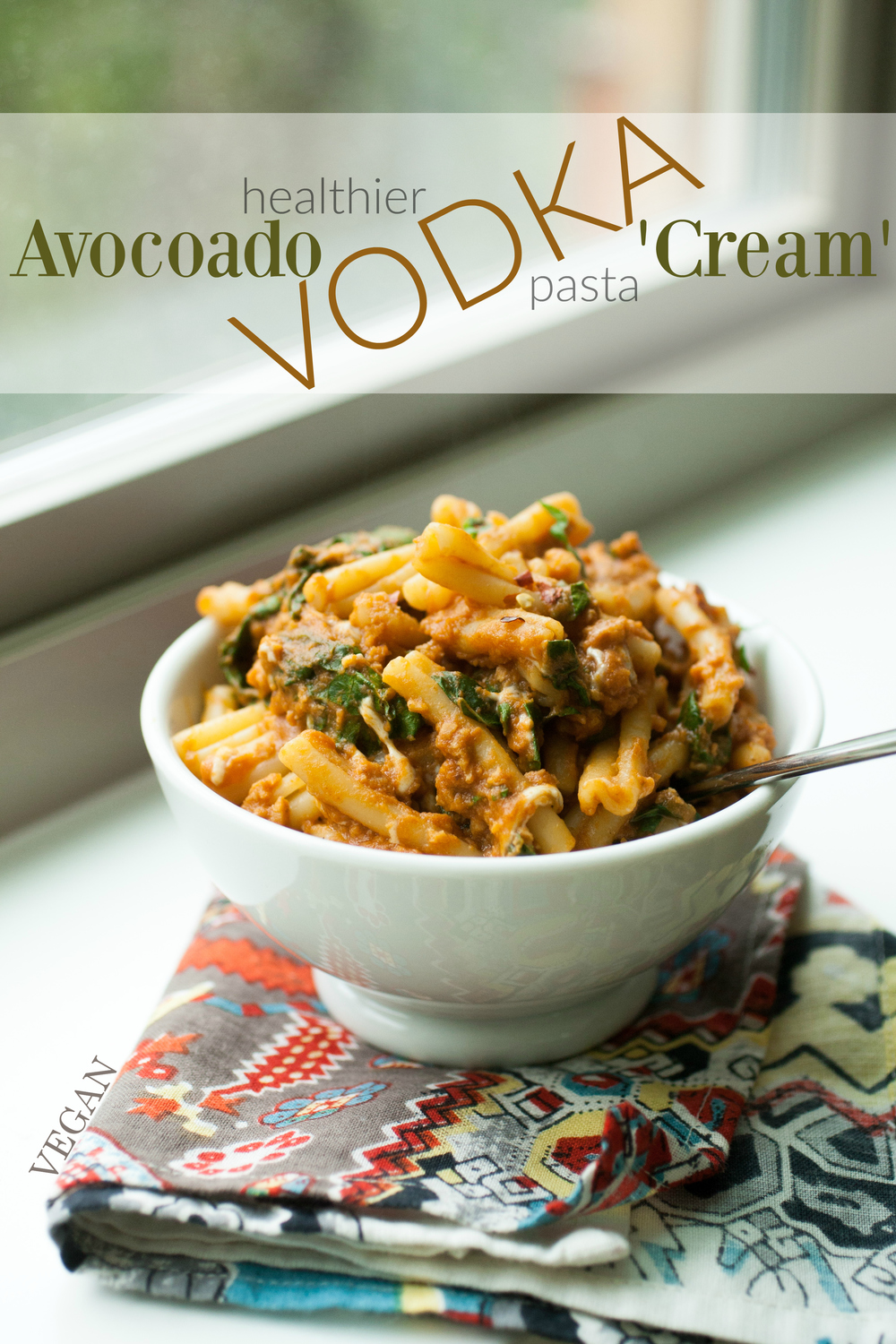 Produce On Parade - Healthier Avocado Vodka 'Cream' Pasta + Classico Riserva Giveaway - A healthy and modern twist on traditional vodka cream pasta. Avocado stands in for heavy cream, smokey TVP packs a vegan protein punch, and swiss chard gives itself for a nutritional boost. This pasta is everything; creamy, meaty, cheesy, and so darn delicious. Whips up in the time it takes to boil the noodles!
