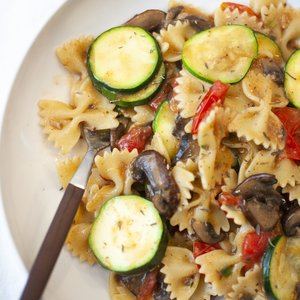 Farfalle with Zucchini, Mushrooms, and Cherry Tomatoes