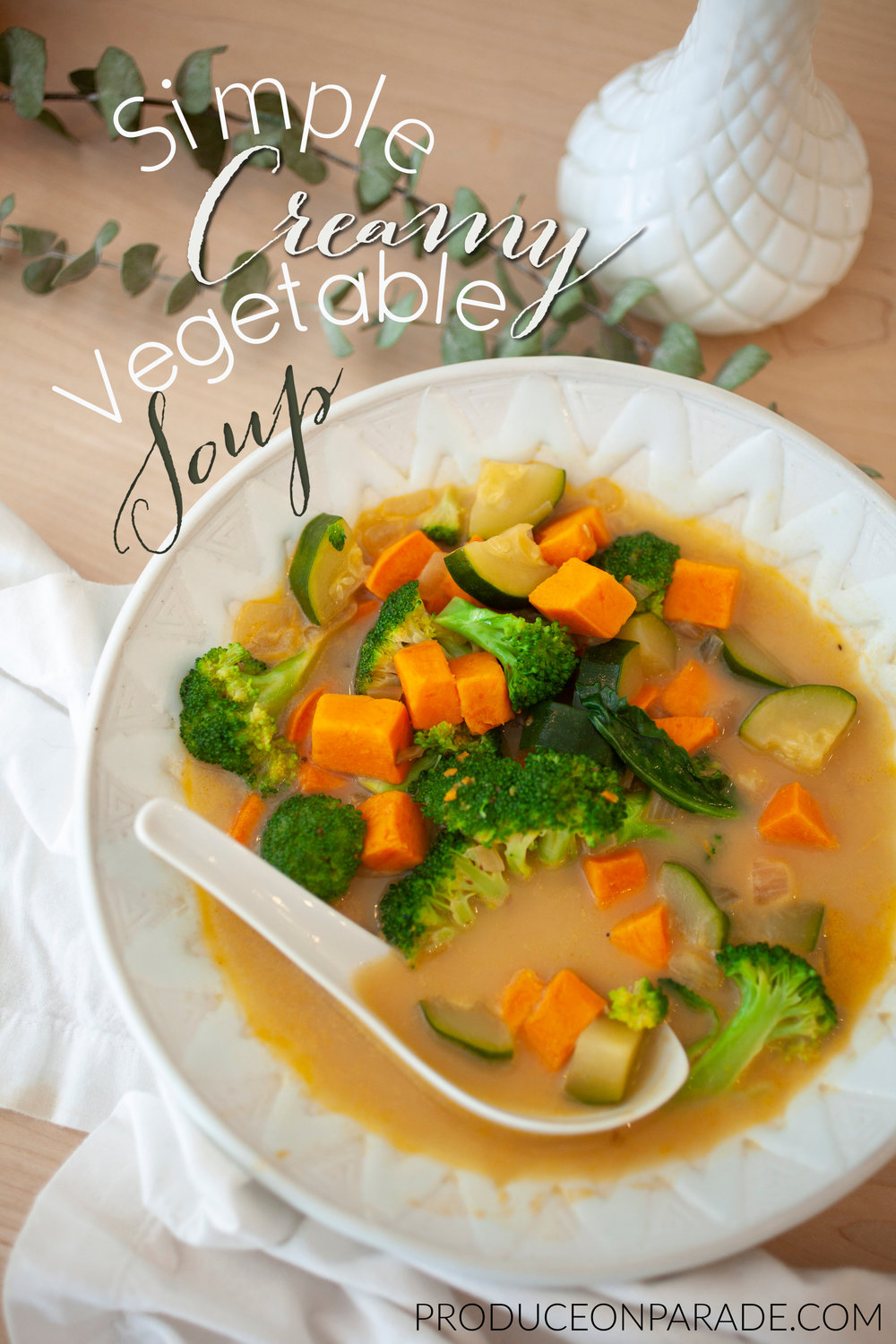 Produce On Parade - Simple Creamy Vegetable Soup - This is a wonderfully simple and delectable soup. Chunks of hearty sweet potato, zucchini, and broccoli swim in a flavorful, creamy broth for a quick and healthy meal that's great for a weeknight. This really is a new favorite meal that's a great way to use up any leftover canned coconut milk in your fridge.
