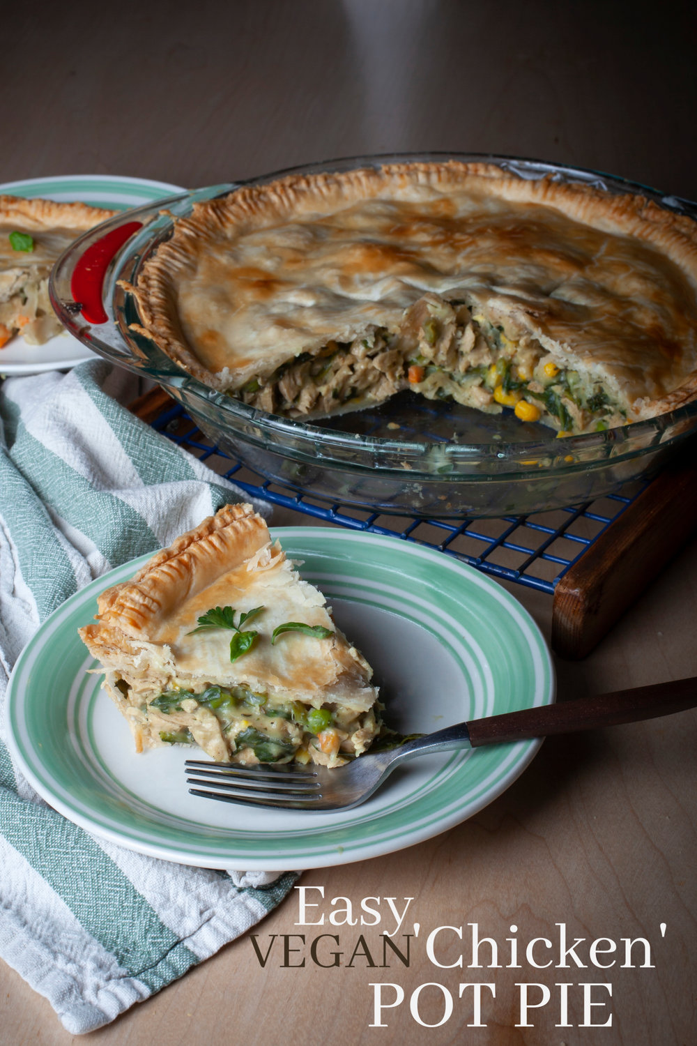 Produce On Parade - Easy Vegan 'Chicken' Pot Pie - Everytime I make this pot pie it gets rave reviews. It's really great with vegan chicken, especially for omnivores but of course it can be left out or replaced with tofu if you desire. I make my own vegan condensed soup to add to mixed vegetables and fresh spinach for a delicious filling. This dish is so easy and it's sure to be a big hit!