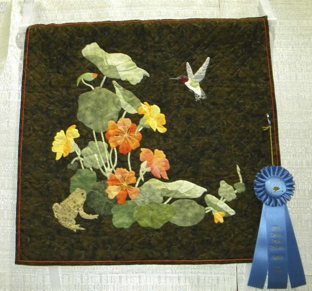 1st Applique-Wall.  My Mom's Nasturtiums by LaVonne Templeton