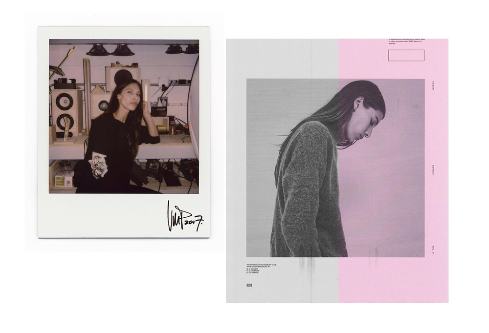 Kayla in the studio, shot by  @vinnypicone  (left) Kayla shot by Ellington Hammond, designed by Phil Annand (right)
