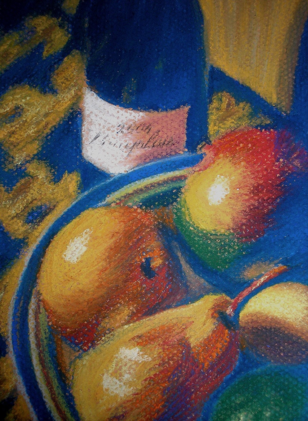 Wine and Fruit    9 in x 12 in  pastel on pastel paper