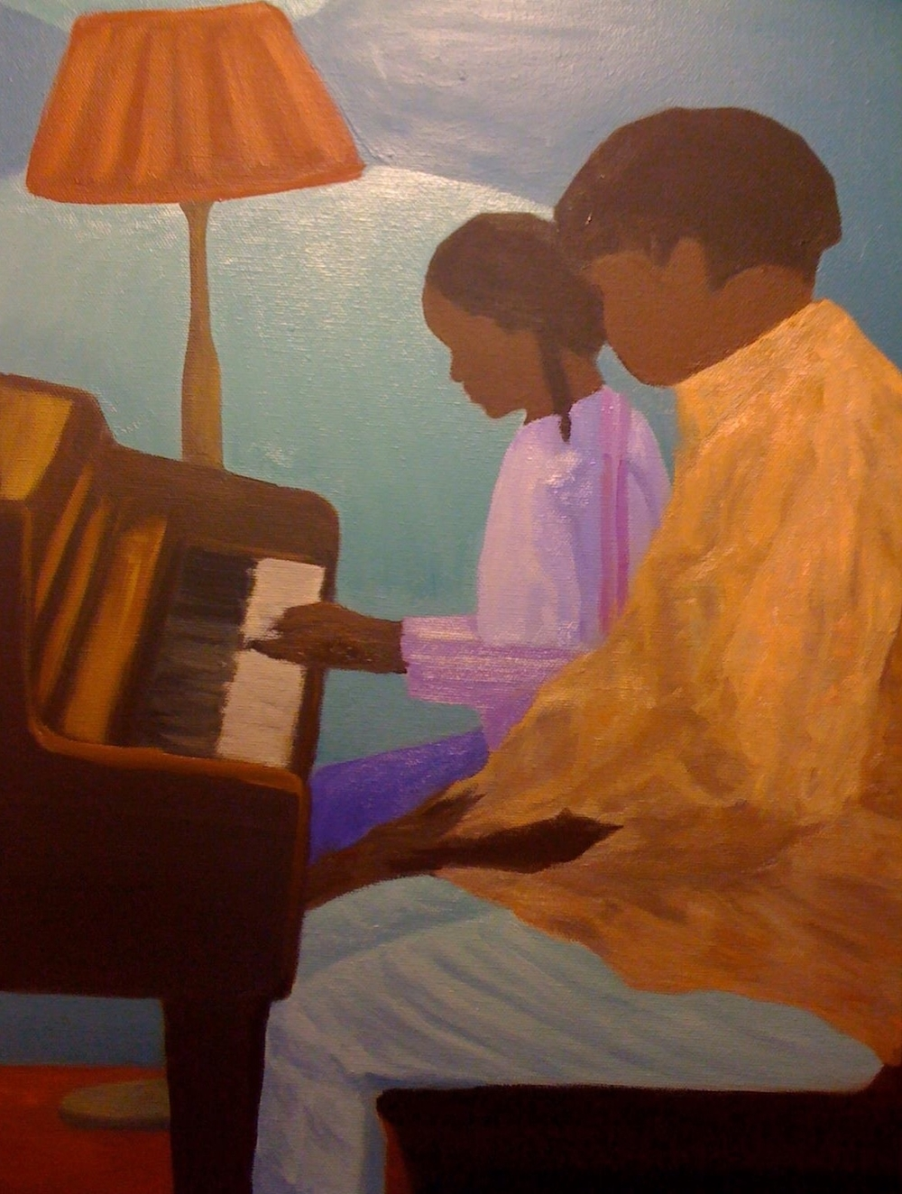 The Piano Lesson    12 in x 20 in  oil on canvas