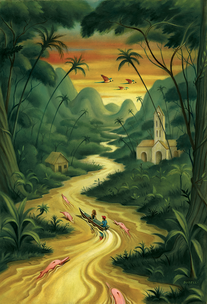 I was asked to illustrate the special Latin America cover for The Travel section of The New York Times. I concentrated on the article about the Peruvian Amazon with it's hidden town of Iquitos and pink river dolphins.