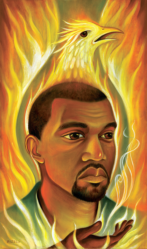 "Kanye West/oil on board/12""x20"""