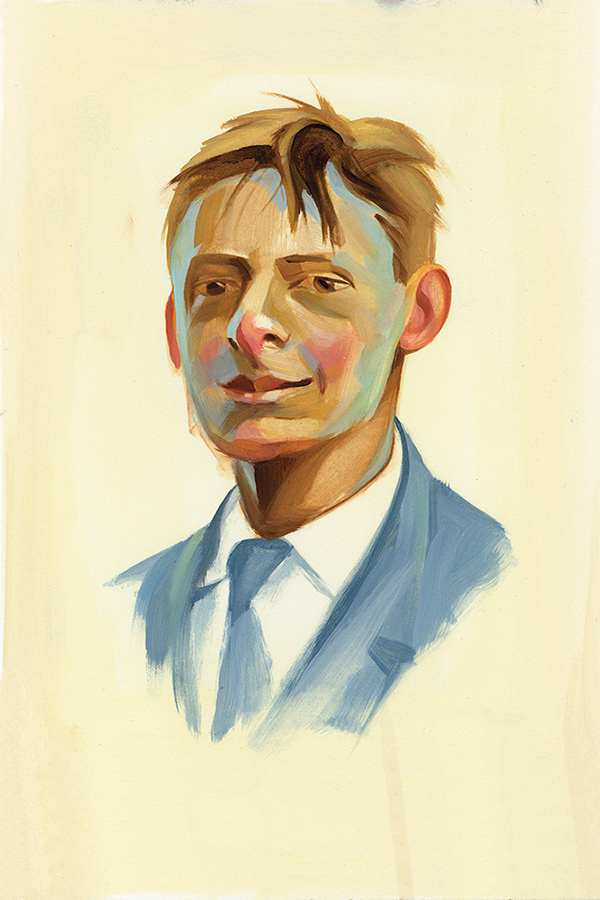 "Young TS Eliot/oil on paper/6""x9"""