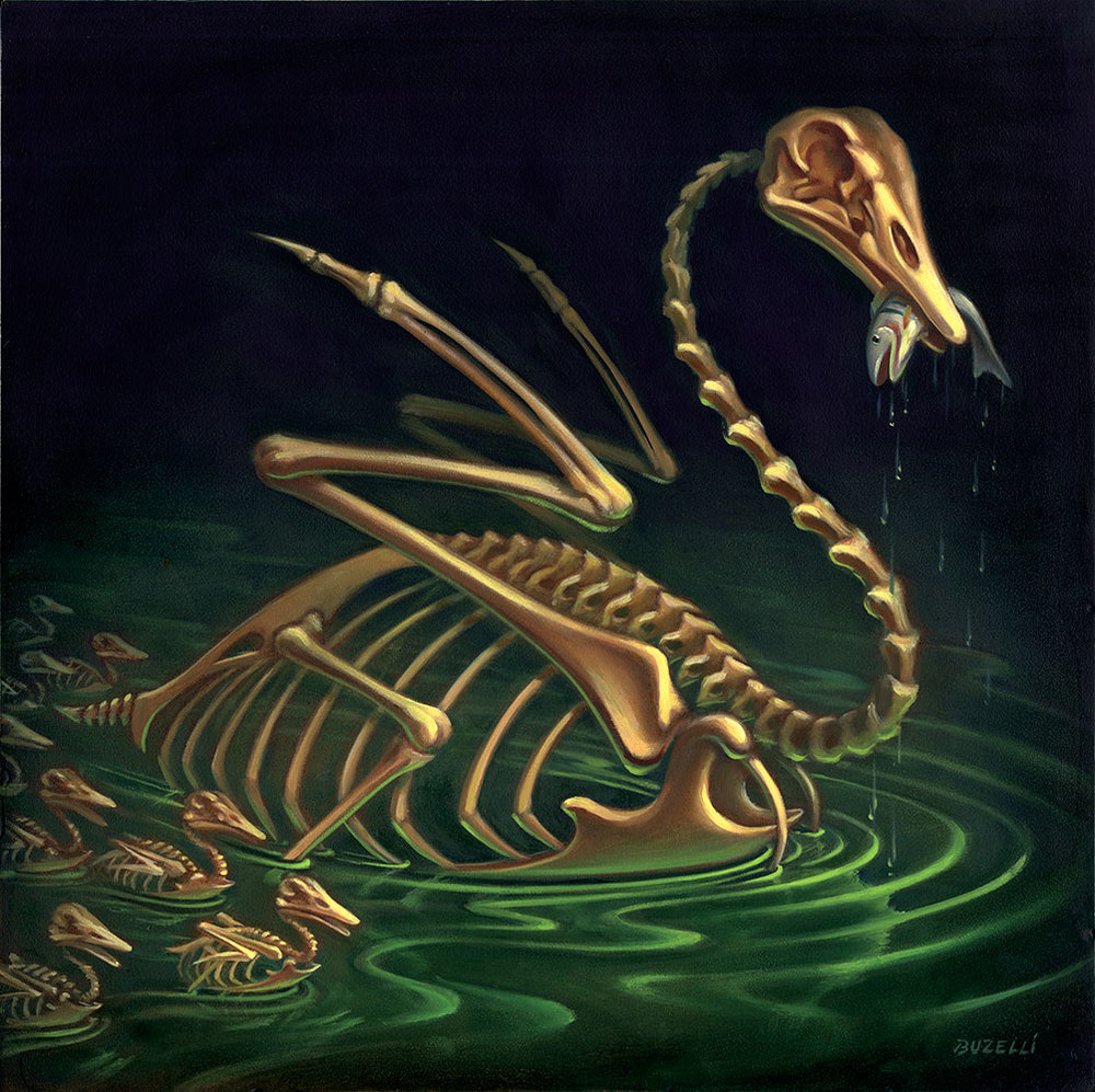 "Swan of Tuonela/oil on panel/12""x12"""