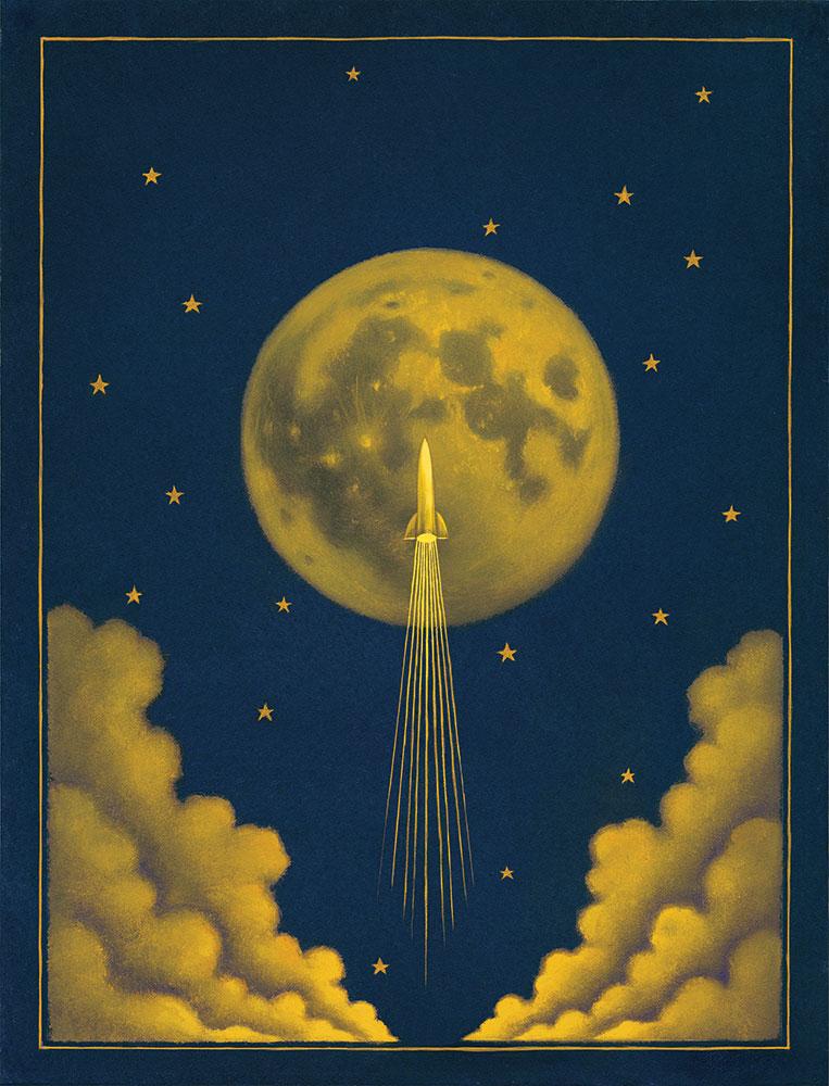 "Moonshot/oil on board/12""x16"""