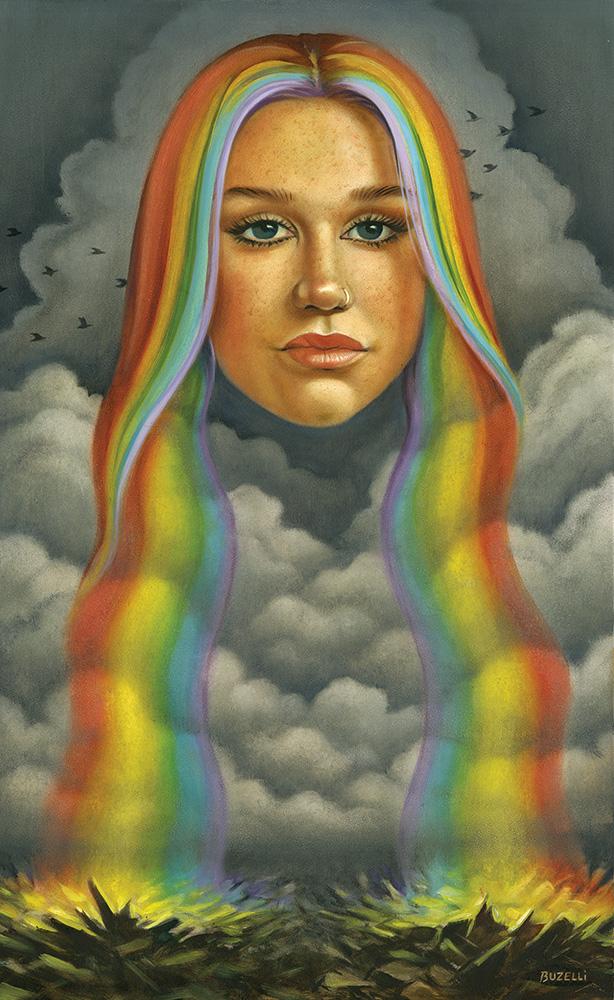 """Kesha """"Rainbow"""" / oil on board / 12.25""""x20"""""""