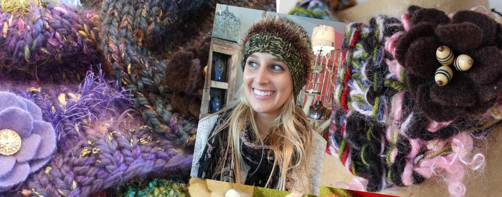 Nagare hats, scarves, and flowers! Modeled by beautiful Allie, my friend at Fringe in Redondo Beach.
