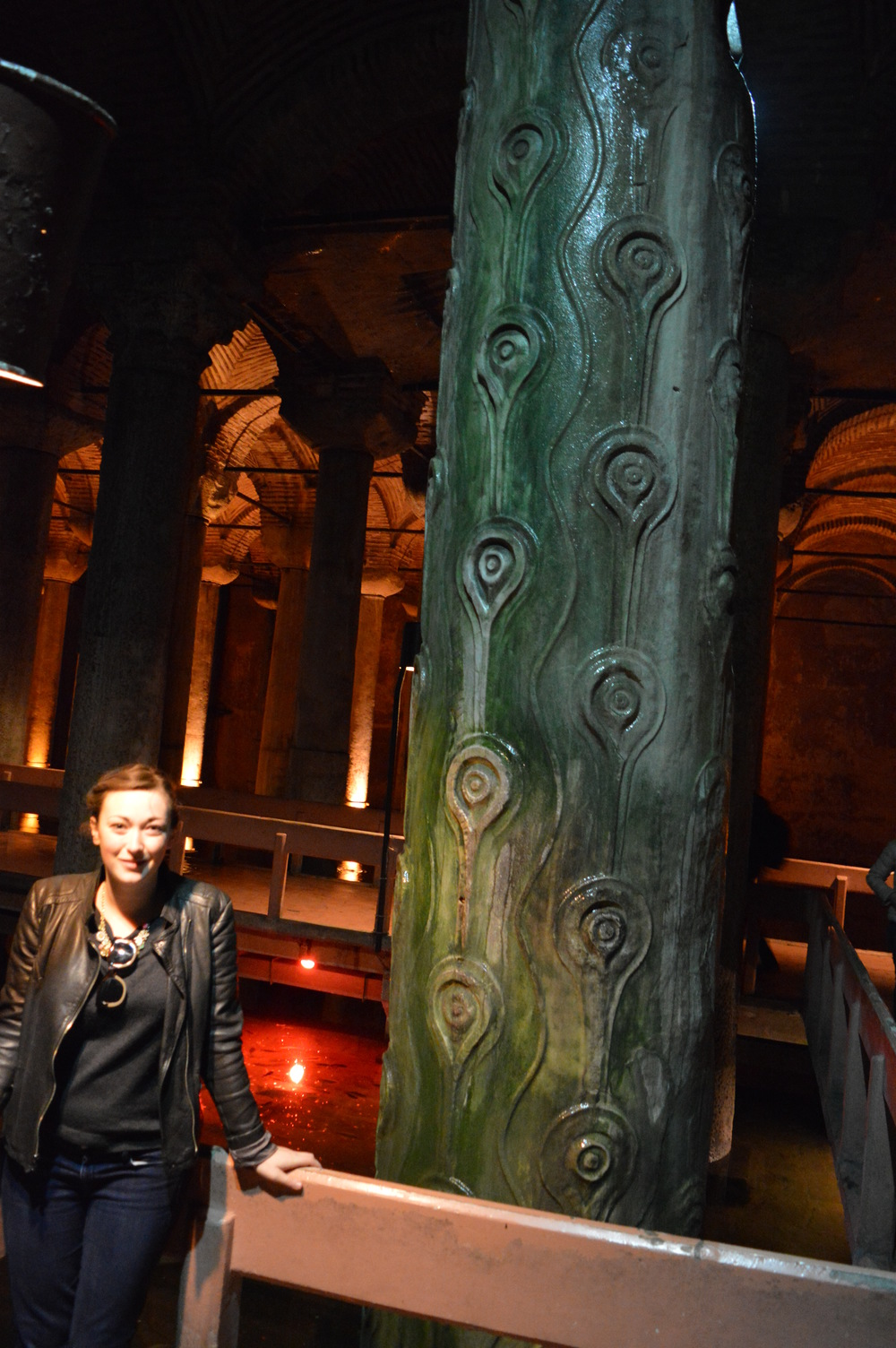 A column in the Basilica Cistern with evil eyes, or nazars (these are EVERYWHERE in Istanbul, the belief being that as a talisman they turn back evil gazes being directed at you).