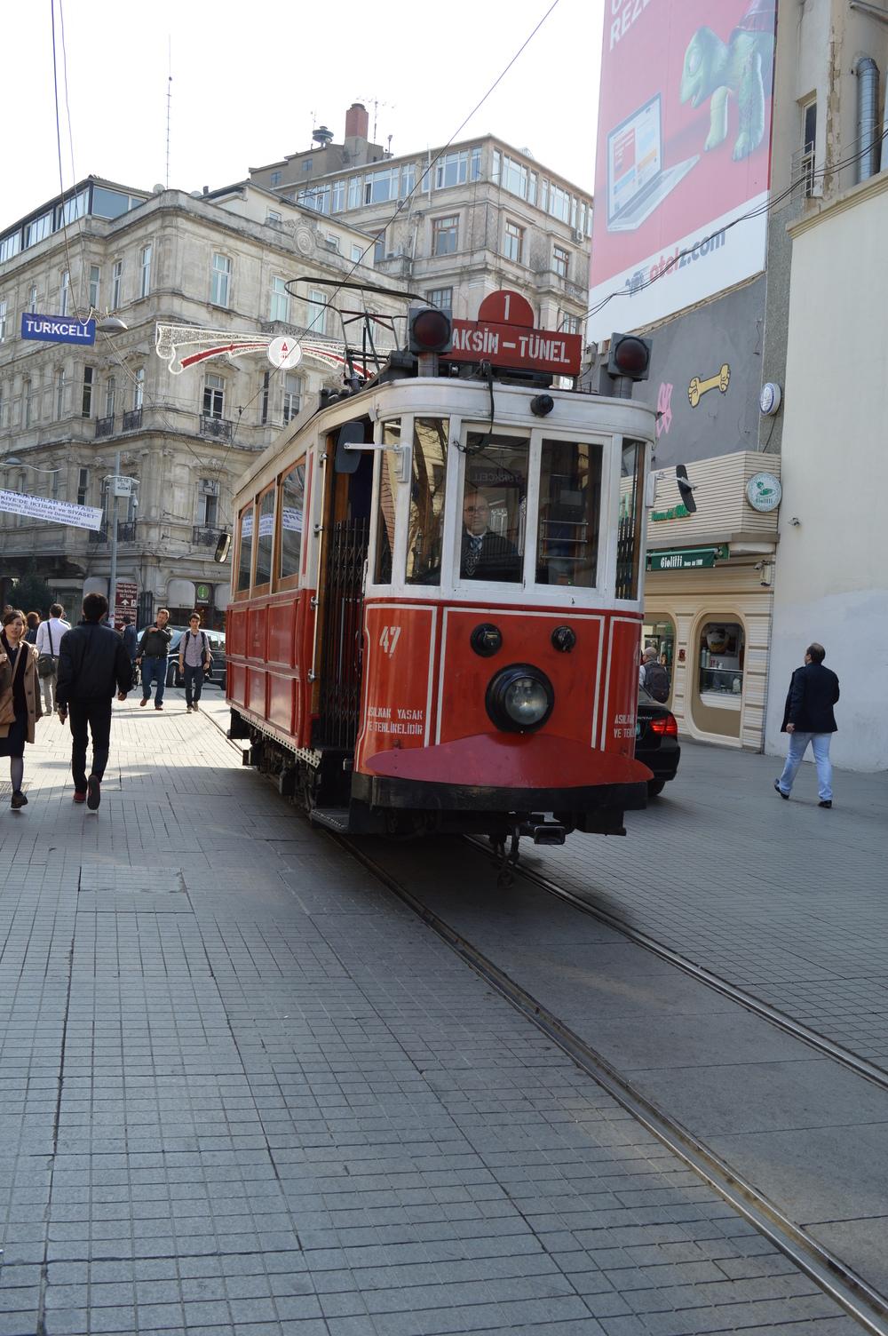 The little 19th-century tram on Istikal boulevard.