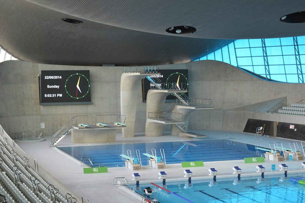 The five-metre deep diving pool.