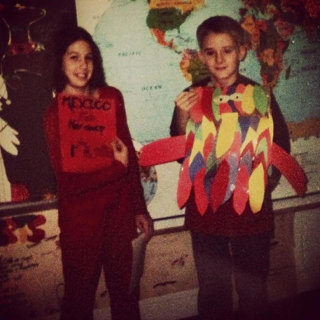 Remember that time we made a terrifying piñata for a project about Mexico? Remember also how we're actual children in this picture? What I'm trying to say is, be it piñatas or tequila, at least we've always been consistent. Happy Birthday @stephmoore11 love ya lots! #vivaméxico