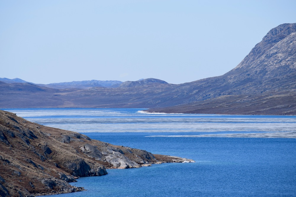 Rocks, ice, and water on the drive from Kangerlussuaq to the ice cap.