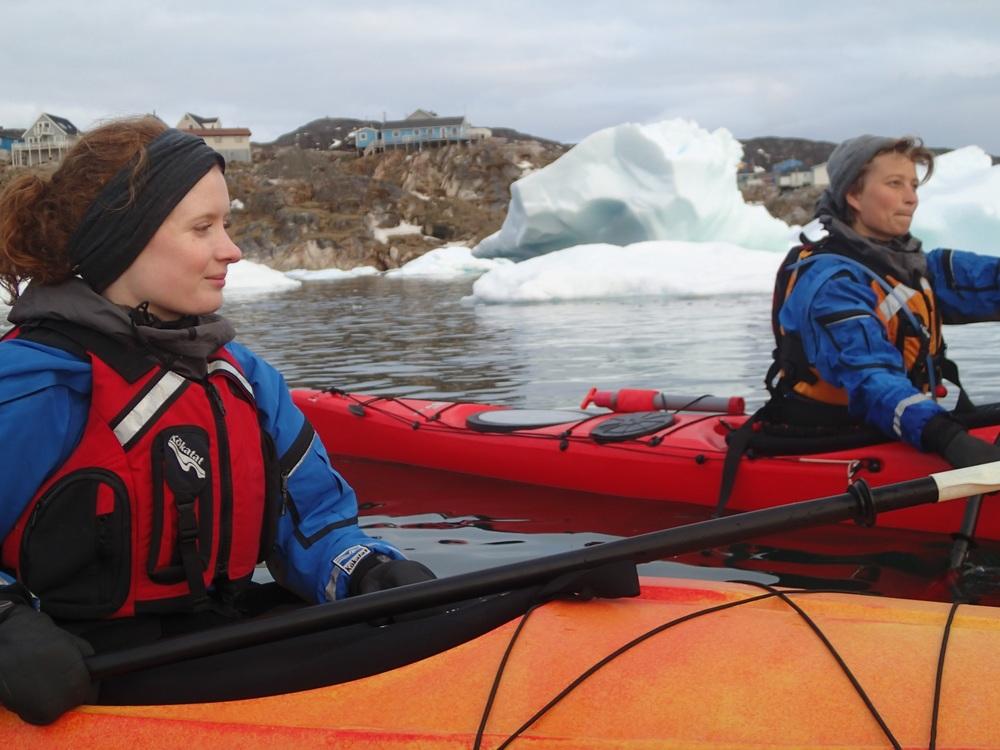 Warm ears, happy kayaker.