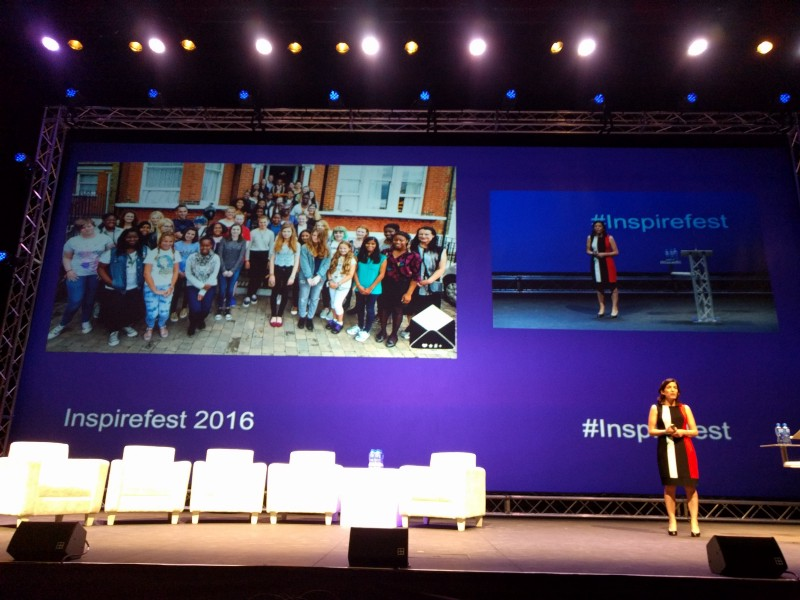 Mary Carty discussing Outbox Incubator at Inspirefest 2016.