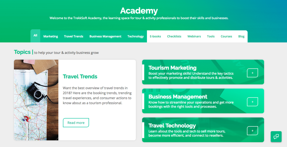 The TrekkSoft Academy , the new home of our resources and topic hub pages from Spring 2018. Designed and implemented by  Barbra Silva , who is also the mind behind the TrekkSoft website and all other current brand design.