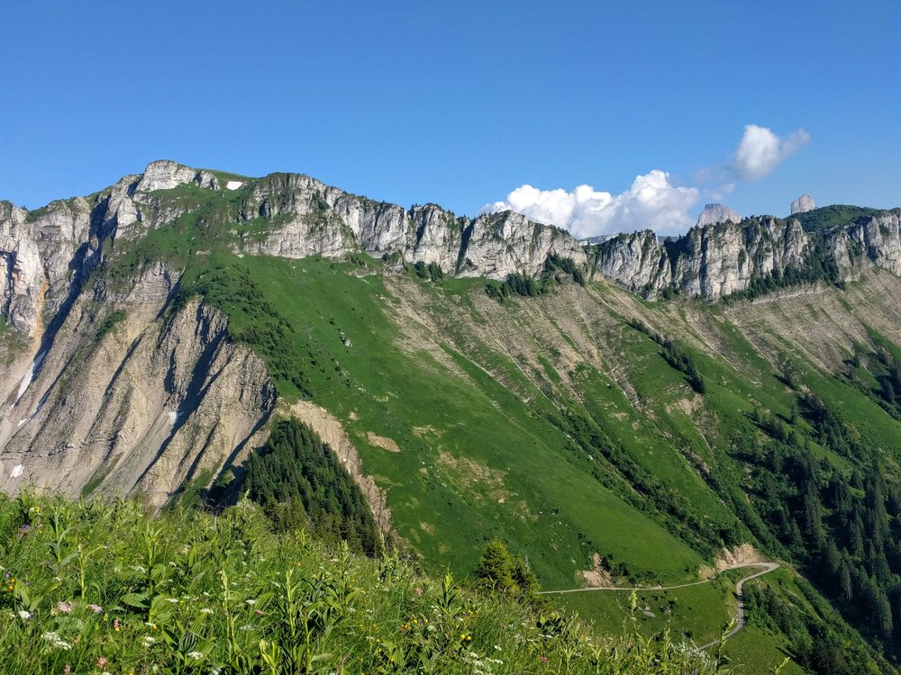 Looking back at beautiful ridges on the approach to Rochers de Naye.