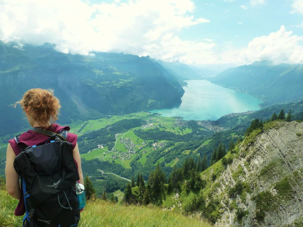 Walking above Lake Brienz, near my home in Switzerland.