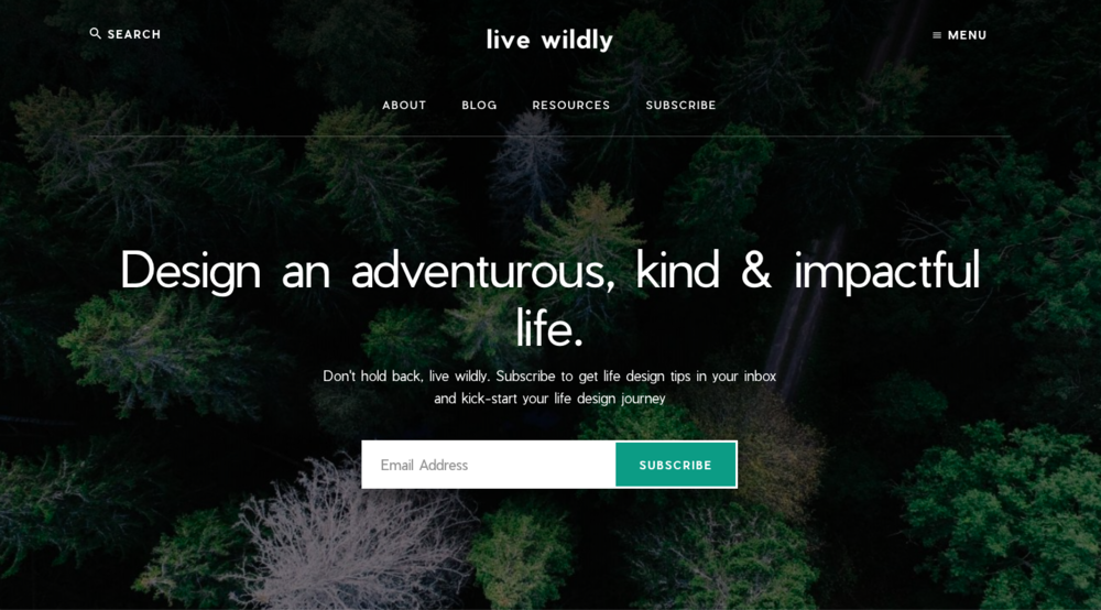livewildly.co – Built with  WordPress