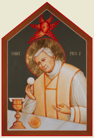 St. Pius X Icon courtesy of Br. Claude Lane, OSB, at the Mt. Angel Abbey, St. Benedict, OR     Click the Icon to download the adult prayer card