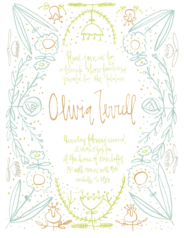 I'm having a trunk show next Thursday,  February 2nd! My lovely friend Erin has graciously offered to host it in her home…AND check out this amazing invite she made for it!!