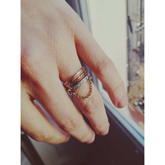 I love the way the Chain Ring looks with my wedding bands…it's okay to just add to your wedding rings, right?