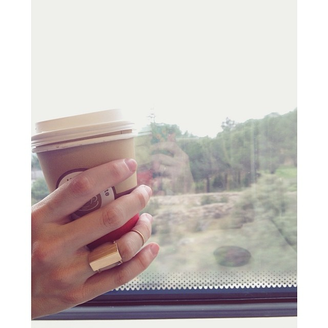 Early morning train ride to Salamanca with coffee in hand and new design on my finger. #oliviaterrelljewelry #newwork #casitaring #goldfill