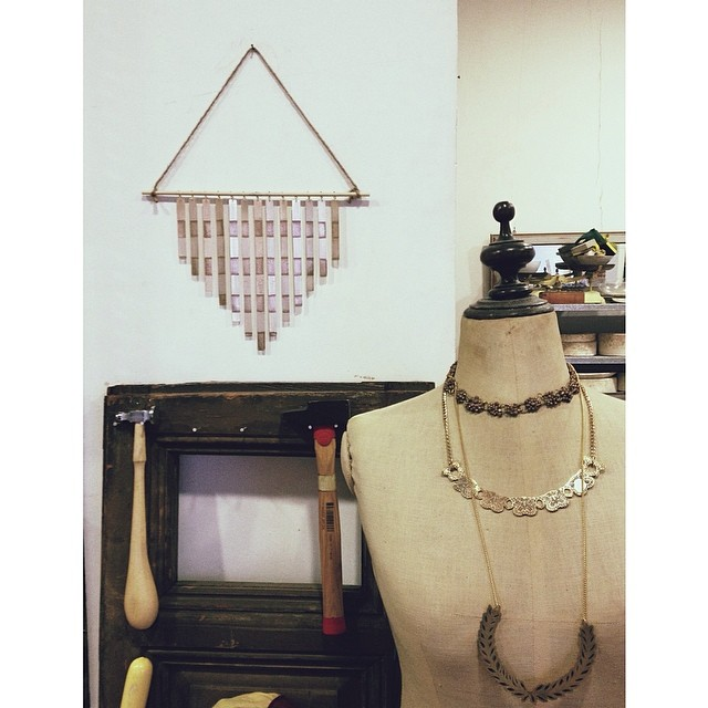 Some new wall art in the studio—working on some fun new non-jewelry pieces