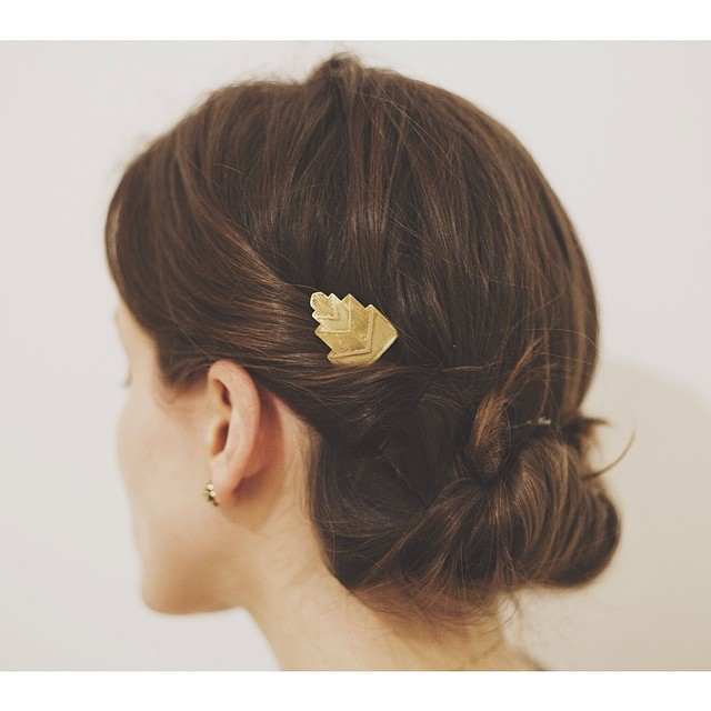 Brass on brunette. Hairpins anyone?? #oliviaterrelljewelry