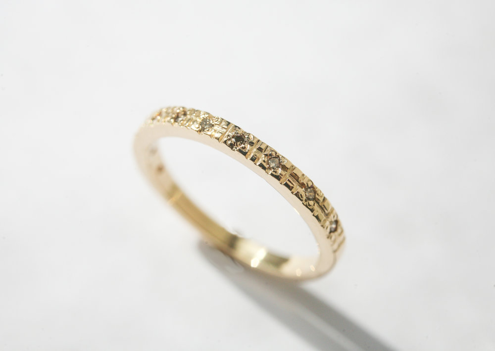 Champagne Diamond Wedding Band Olivia Terrell Jewelry