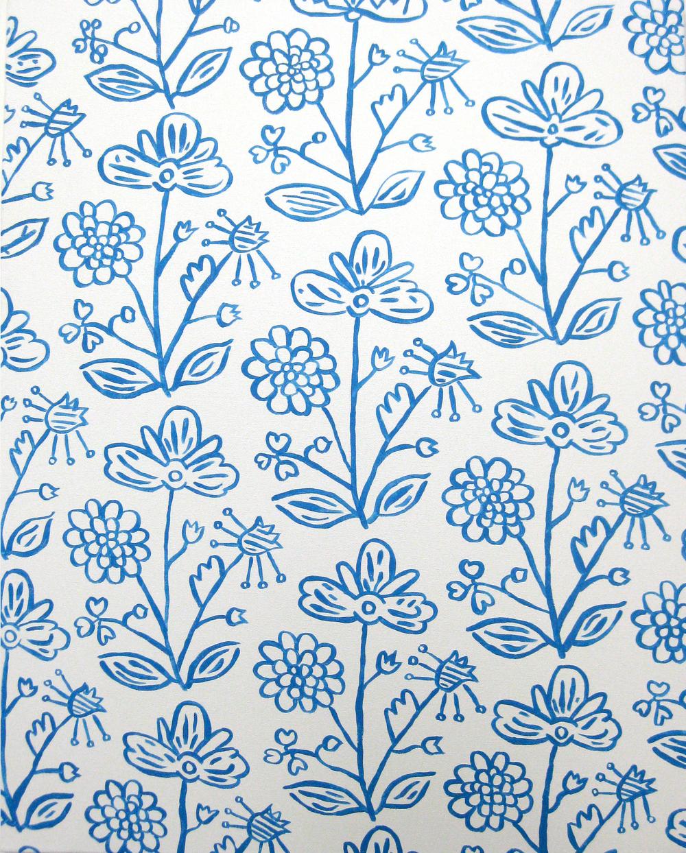 "untitled. (blue flower curtain)  2009  28"" x 22""  acrylic on canvas"