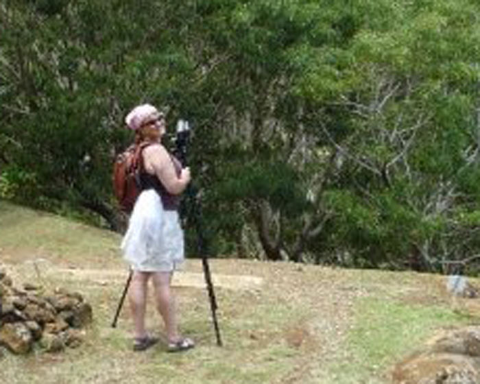 Anthropologist Mary Nolan shoots greenery in Hawaii.