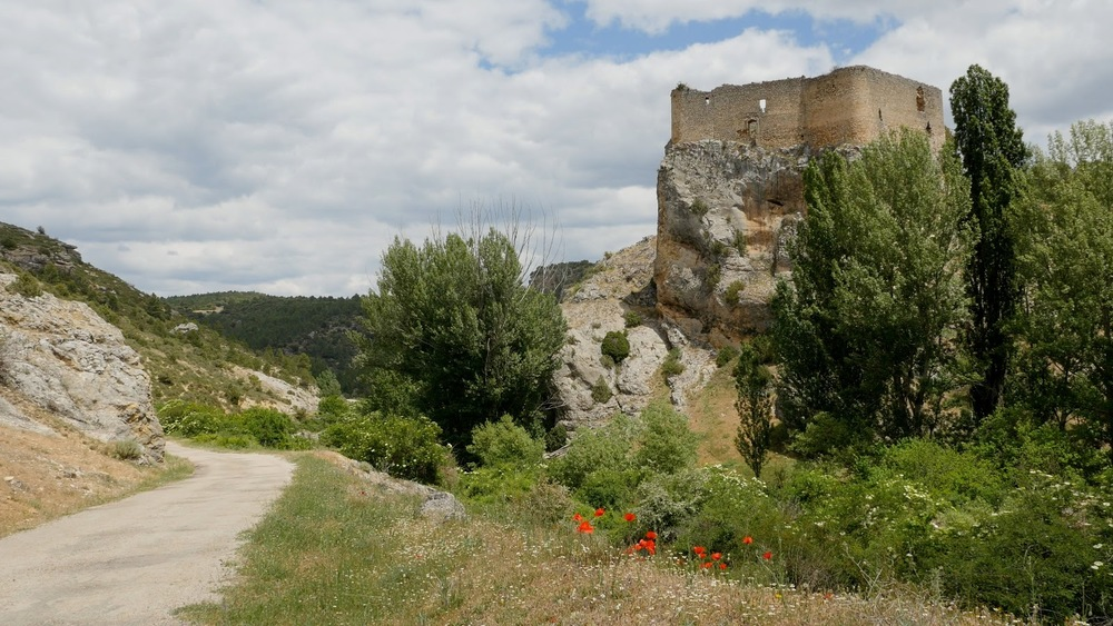 Spain Alto Tajo Castle On Rock With Road And Poppies◹