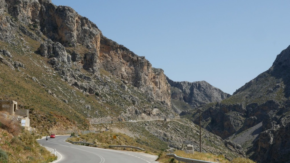 Greece Crete Kourtaliotiko Gorge Car On Road◹