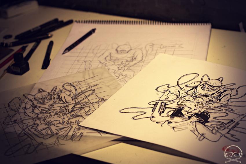 Boceto, diagramacion y tinta para ilustracion del nuevo Fanzine del estudio Burkina en BsAs / tema Peliculas Clase B / ilustracion basada en una canción de Misfits / Violent World