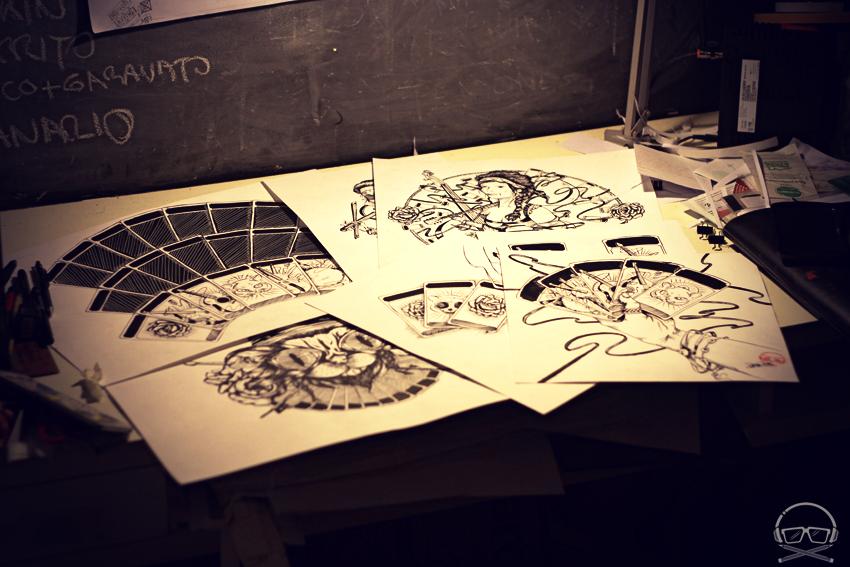 Todos los artes en tinta para el artwork del nuevo disco de Le Chat Lunatique / Swing Gitan
