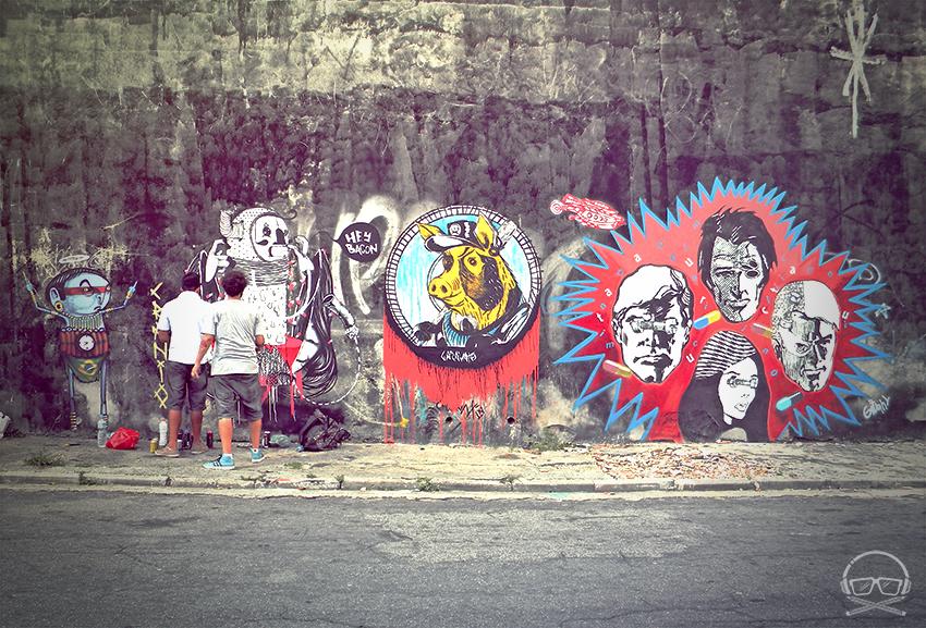 """""""Un placer pintar junto aUrsofuck, Allan de PUB Crew, y el maestroCelso Gitahyen Tucuruvi en São Paulo / Br"""" Por G A R A V A T O"""