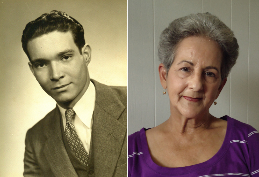 Left: Jorge Concepción, pre-WWII Havana. Right: Elsa Concepción, in her home in Florida.