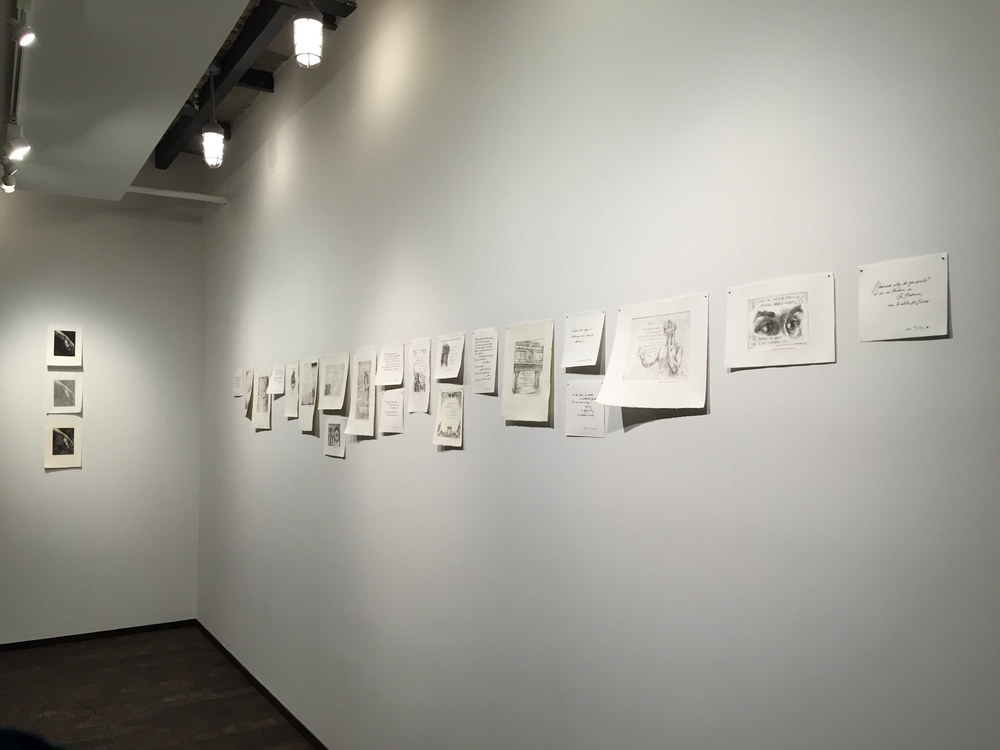 Installation of prints and calligraphy pieces