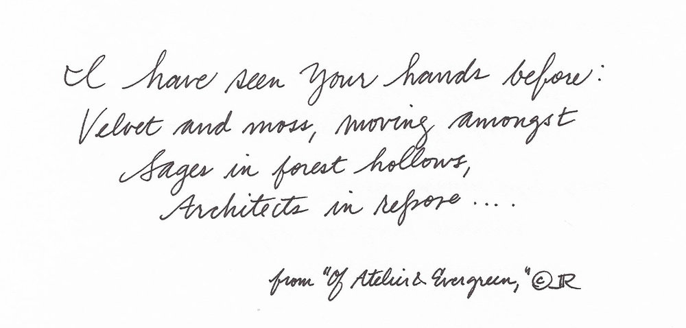 "Hand-written excerpt from ""Of Atelier & Evergreen,"" which I have also illustrated with a drypoint etching, to be printed in The Male Muse"