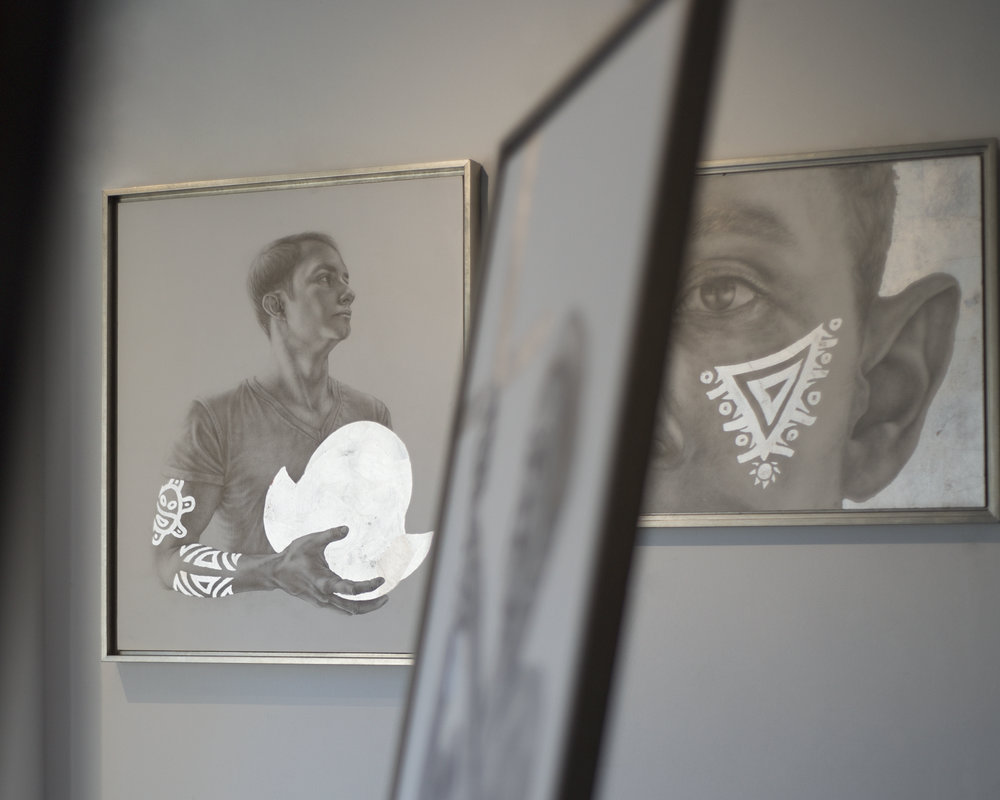 """Installation of drawings for """"Of Silver & Sword"""""""