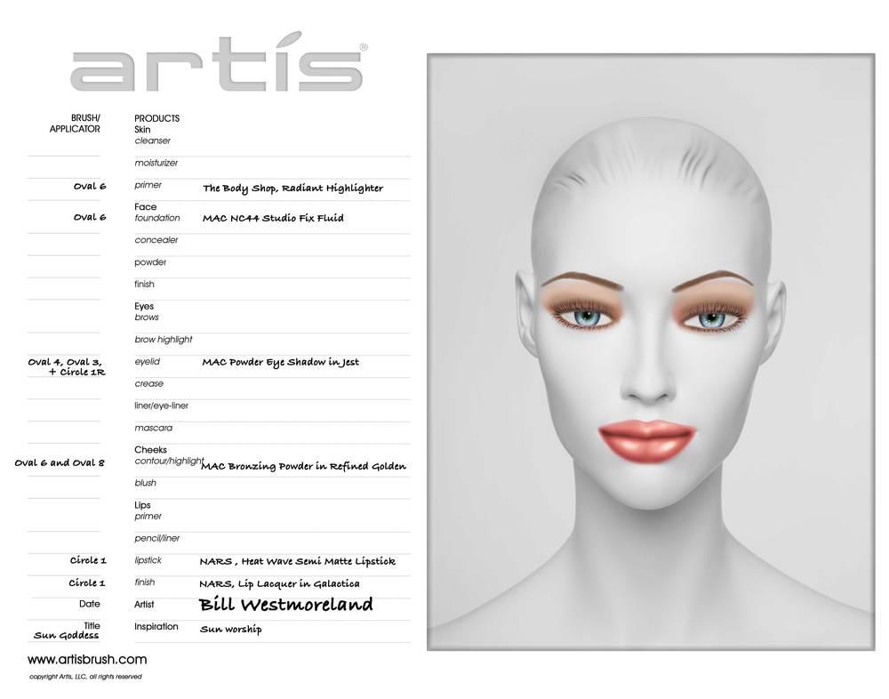 Sun Goddess Face Chart