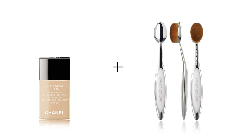 CHANEL VITALUMIERE AQUA FOUNDATION      &      ELITE MIRROR OVAL 6