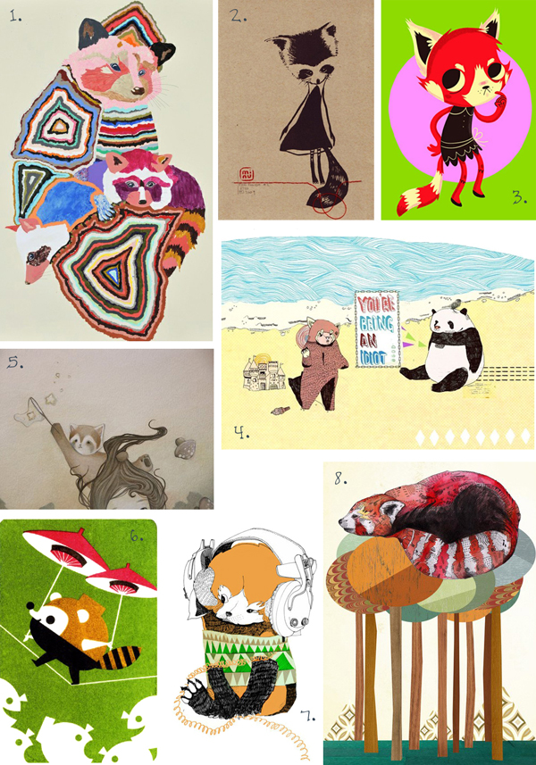 red panda illustrations drawings paintings julia pott kirra jamison