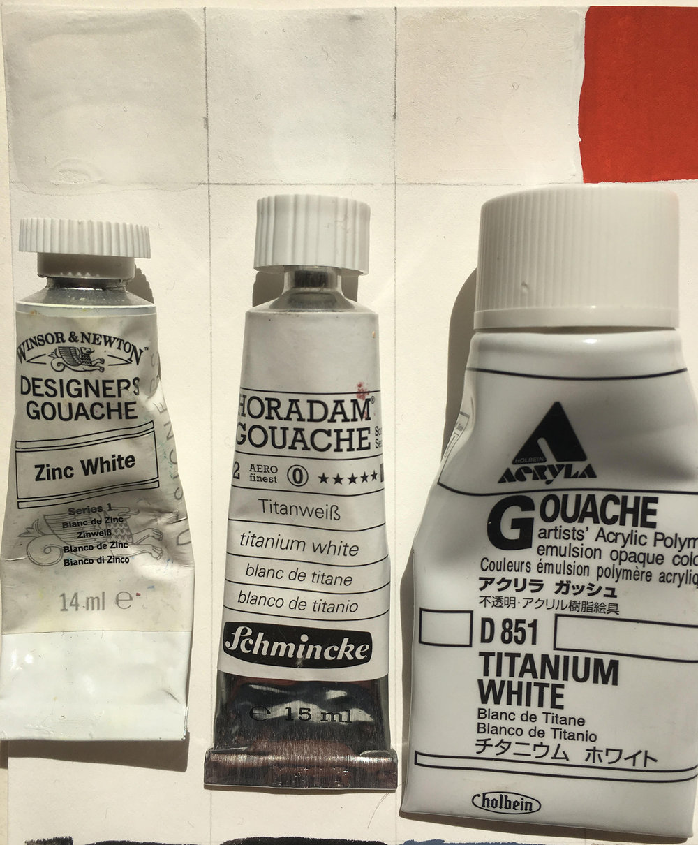 The Horadam goauche seems to be the most pure white. I think my brush had a tinge of pink still for the Acryla - so it is actually probably whiter than this pic. I find whites the hardest. They are always a bit chunkier than other colors. The acryla is very smooth but does not mix well with other brands.