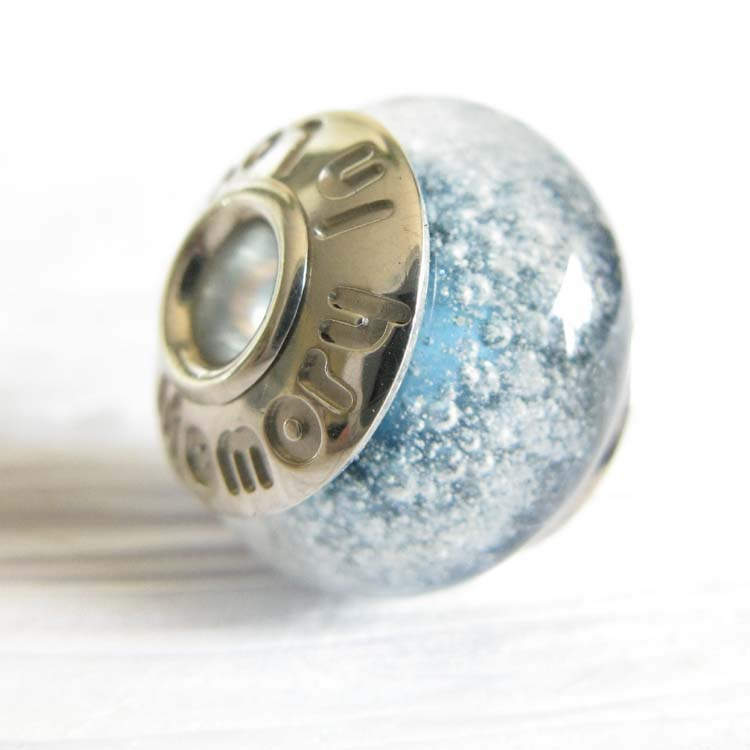 Pet Memorial Ashes Cremation White Large Hole Bead One Bead