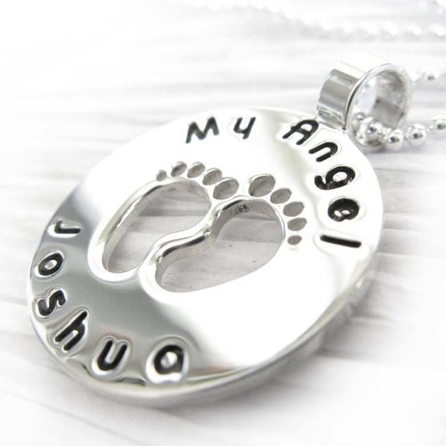 Angel baby infant loss memorial necklace engraved pendant in angel baby infant loss memorial necklace engraved pendant in sterling silver aloadofball Gallery